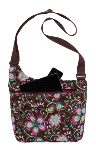 3C44924 Brown Flower Laptop Messenger Bag