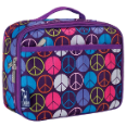 WK33212 Peace Signs Purple Lunch Box