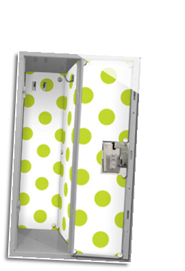 LL-LW-GRD-13 Locker Wallpaper w/20 Magnets: Green Dots on White Background