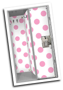LL-LW-PKD-32 Locker Wallpaper w/20 Magnets: Pink Polka Dots on White Background